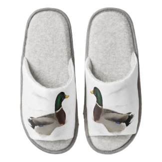 Ducks in Snow Pair of Open Toe Slippers