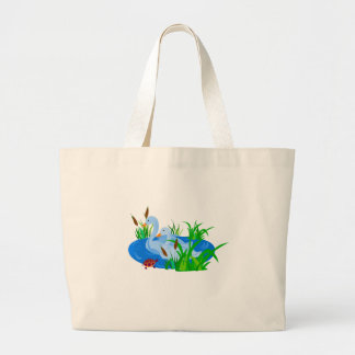 Ducks in water large tote bag