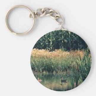 Ducks in Wetland Basic Round Button Keychain