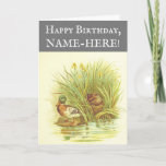 [ Thumbnail: Ducks Near Water Birthday Greeting Card ]