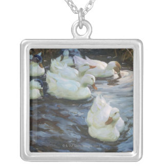 Ducks on a Pond Silver Plated Necklace