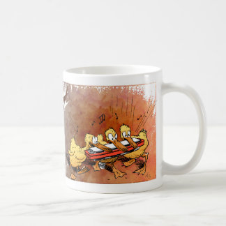Ducks playing a harmonica classic white coffee mug