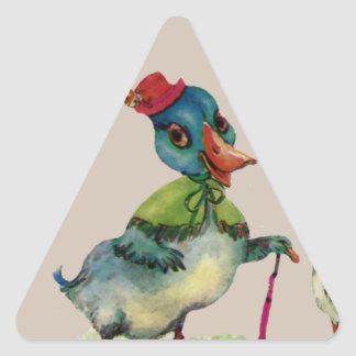 Ducks Romantic Couple Love Boy Girl Vintage Art Triangle Stickers