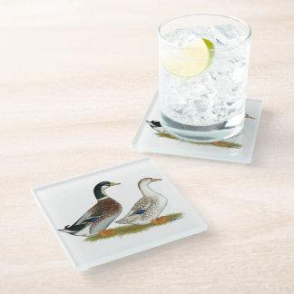 Ducks:  Silver Appleyard Glass Coaster