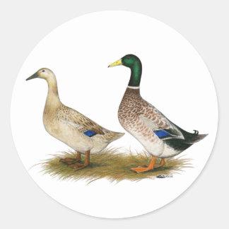 Ducks:  Silver Welsh Harlequin Classic Round Sticker
