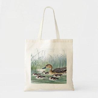 Ducks vintage birds illustration canvas bags