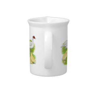 Ducks White Muscovy Family Drink Pitcher