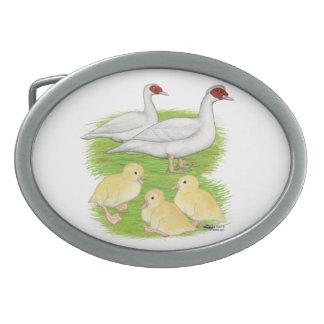 Ducks White Muscovy Family Oval Belt Buckle