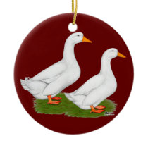 Ducks:  White Pekins Ceramic Ornament
