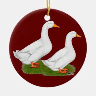 Ducks:  White Pekins Double-Sided Ceramic Round Christmas Ornament