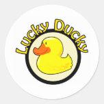 Ducky afortunado pegatinas redondas