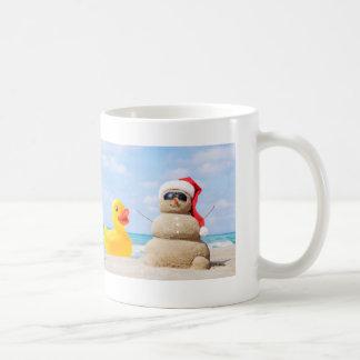 Ducky at the beach with Sandy Santa Coffee Mug