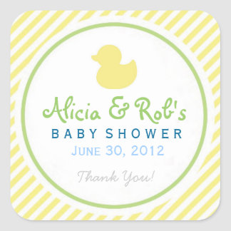 Ducky Baby Shower Yellow and Green Sticker