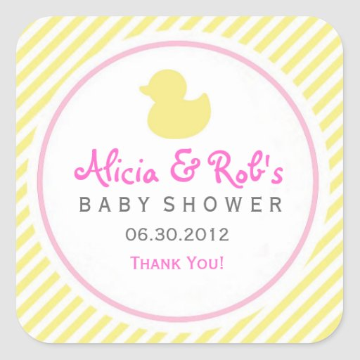 ducky baby shower yellow and pink sticker zazzle