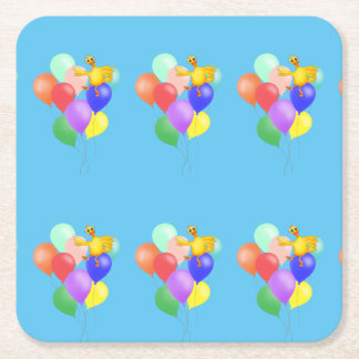 Ducky Balloon Flying by The Happy Juul Company Square Paper Coaster