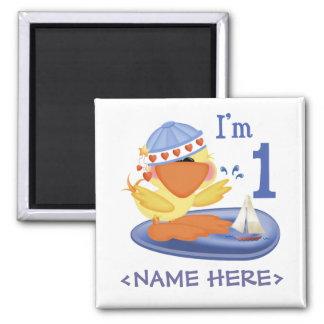 Ducky Boy 1st Birthday 2 Inch Square Magnet