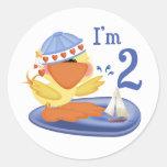Ducky Boy 2nd Birthday Round Sticker