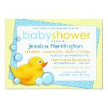 "Ducky Bubbles - Blue Baby Shower Invitations 5"" X 7"" Invitation Card"