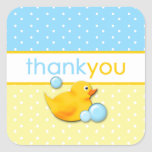 Ducky Bubbles - Blue Thank You Stickers Square Sticker