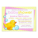 "Ducky Bubbles - Pink Baby Shower Invitations 5"" X 7"" Invitation Card"