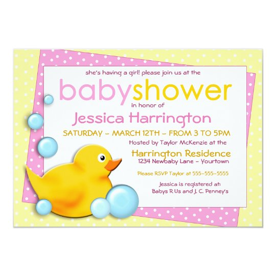 Ducky Bubbles - Pink Baby Shower Invitations