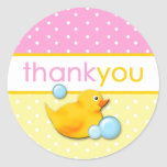 Ducky Bubbles - Pink Thank You Stickers