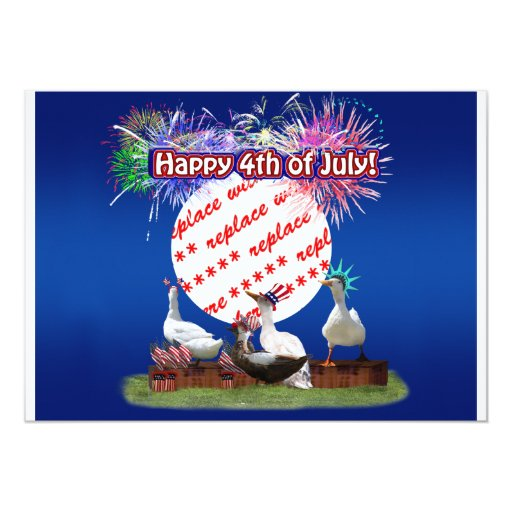 "Ducky Celebration for the 4th of July Frame 5"" X 7"" Invitation Card"