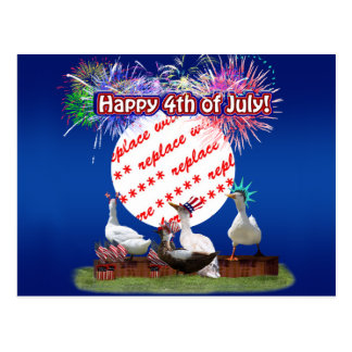 Ducky Celebration for the 4th of July Frame Post Card