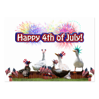 """Ducky Celebration """"Happy 4th of July"""" Large Business Cards (Pack Of 100)"""