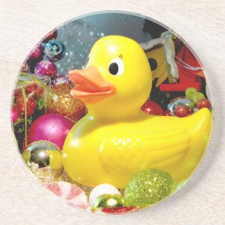 Ducky Christmas I Sandstone Coaster