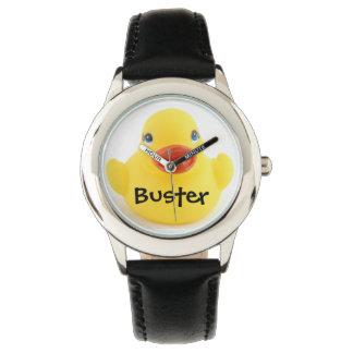 Ducky de goma amarillo con nombre reloj de mano