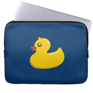 Ducky de goma amarillo lindo de la diversión mangas portátiles
