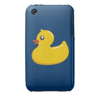 Ducky de goma amarillo lindo de la diversión funda para iPhone 3