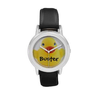 Ducky de goma amarillo relojes de pulsera
