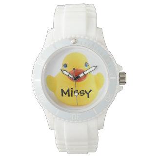 Ducky de goma amarillo reloj de mano