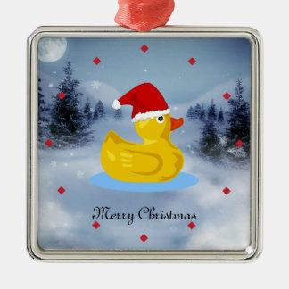 Ducky de goma en su gorra de Santa Adorno Navideño Cuadrado De Metal