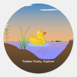 Ducky de goma, explorador pegatina redonda