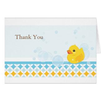 Ducky de goma le agradecen cardar tarjetas