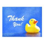 Ducky de goma le agradecen las tarjetas tarjeta postal