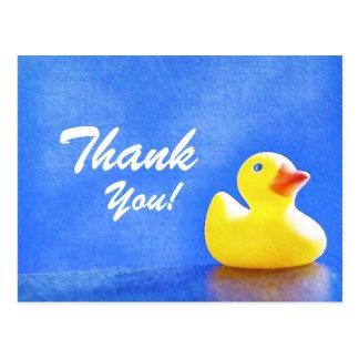 Ducky de goma le agradecen las tarjetas tarjetas postales
