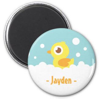 Ducky de goma lindo en baño de burbujas imán redondo 5 cm