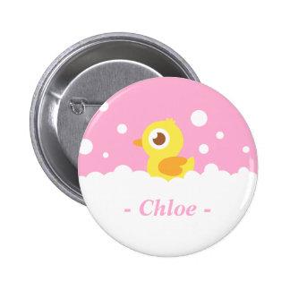 Ducky de goma lindo en baño de burbujas pin redondo de 2 pulgadas