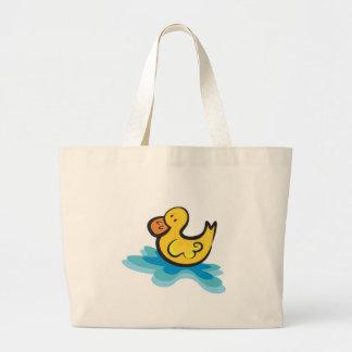 ducky de goma lindo en tina bolsa tela grande