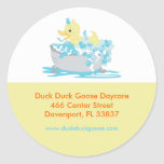 Ducky Duck in Tub Customized Address Labels Round Stickers