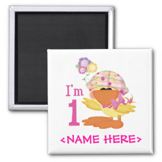 Ducky Girl 1st Birthday 2 Inch Square Magnet