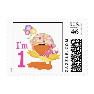 Ducky Girl 1st Birthday Stamps