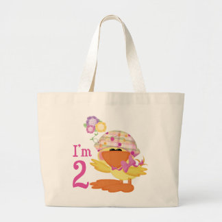 Ducky Girl 2nd Birthday Large Tote Bag