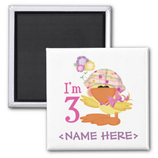 Ducky Girl 3rd Birthday 2 Inch Square Magnet