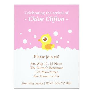 """Ducky lindo con el fiesta de fiesta de bienvenida invitación 4.25"""" x 5.5"""""""