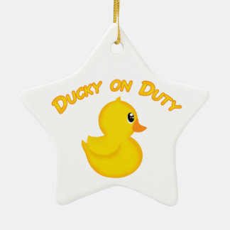 Ducky on Duty Ceramic Ornament